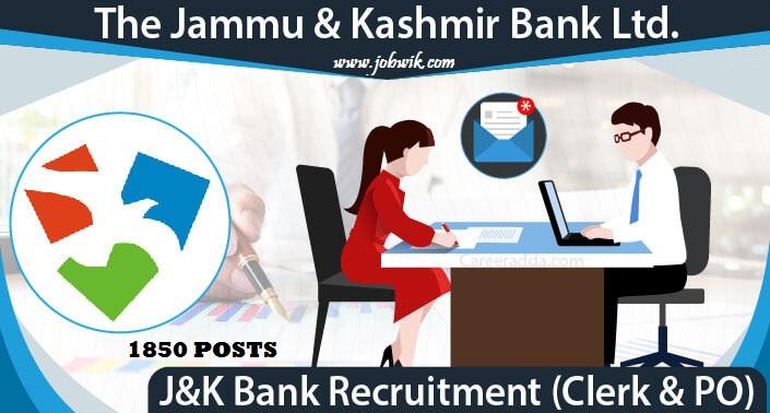 JK BANK Recruitment 2020 – 1850 Banking Associate & PO posts
